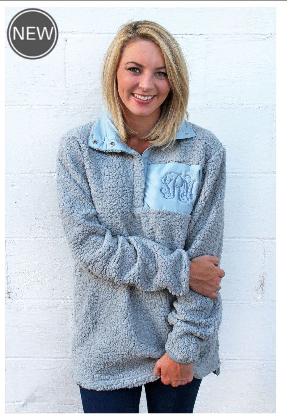 0ae02bcabf2 Sherpa Pullover space for monogram. Monogram not included hand wash runs  small