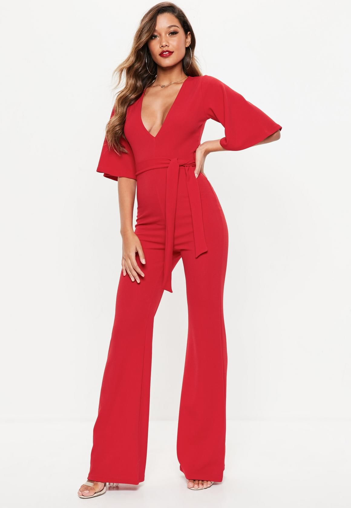 7283dba5fb Missguided Red Kimono Sleeve Plunge Romper in 2019