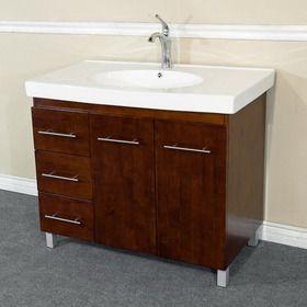 550 Opentip Com Bellaterra Home 203129 W L Single Sink Vanity Wood Walnut Left Side D With Images Single Sink Vanity Wood Bathroom Vanity Bathroom Sink Vanity