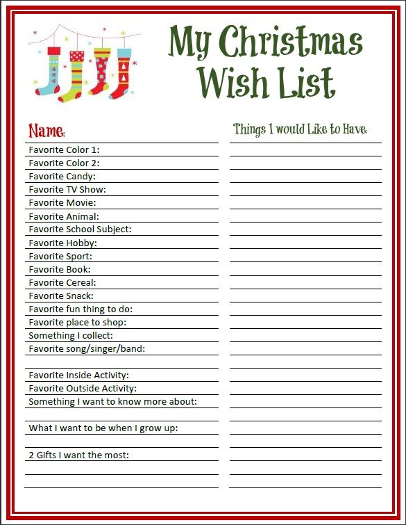 General Kids Wish List Printable General Kids Wish List PDF PDFs Can Not Be Edited You