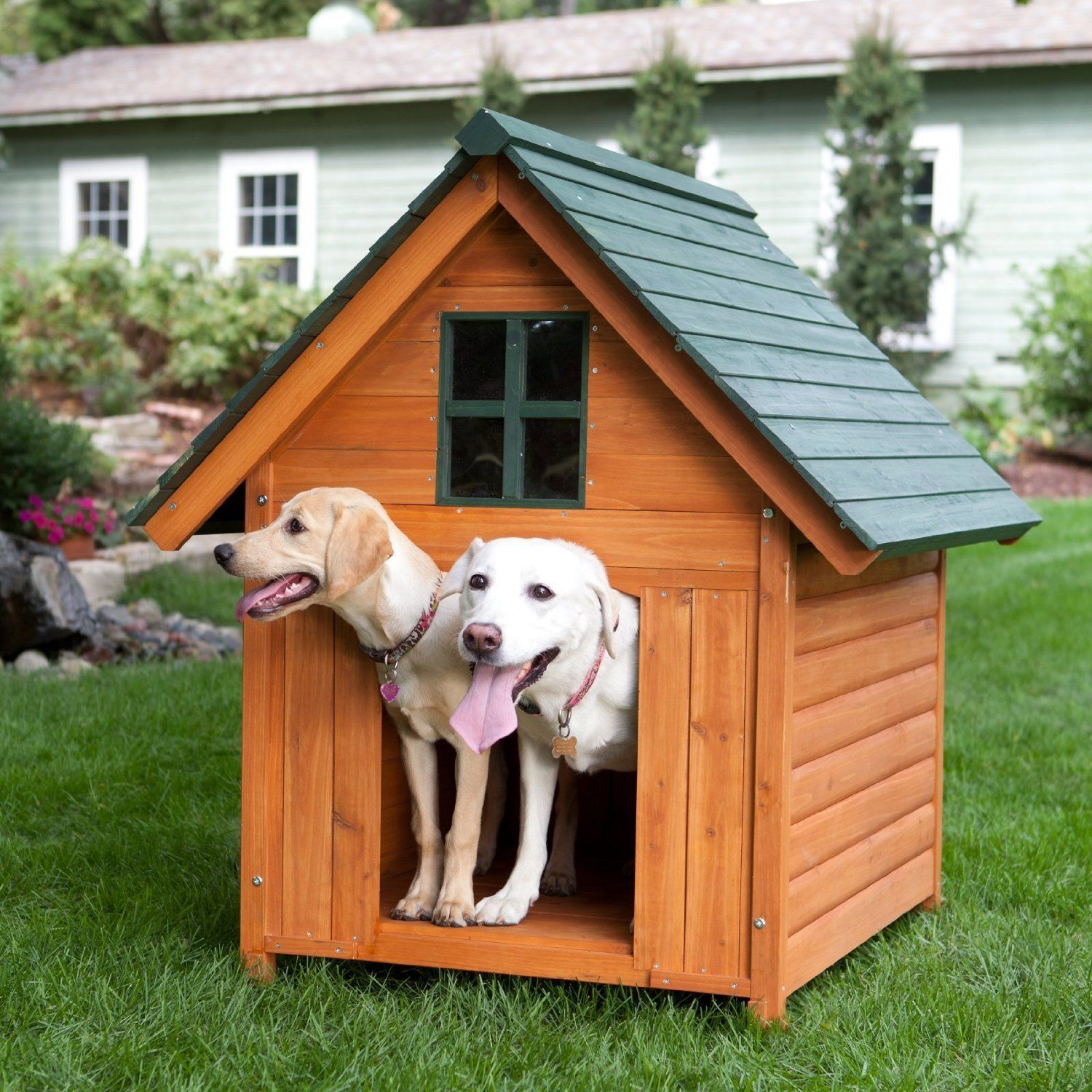 Large Dog House Heated Pet Kennel Deluxe Rustic Wooden Traditional