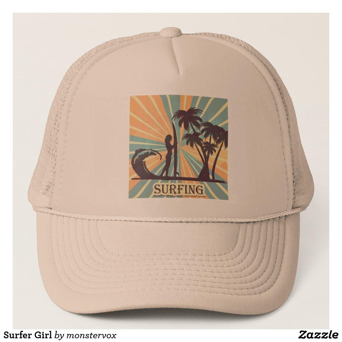f6645ed0 Surfer Girl Trucker Hat #Surfer #Surf #Surfboard #PalmTree #Wave #Beach # Ocean #Sport #Exercise #Fashion #Trucker #Hat #Cap