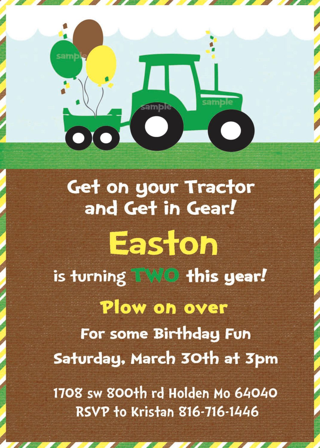 Green tractor birthday party invite and thank you cards printable green tractor birthday party invite love that it already says easton and 2 filmwisefo