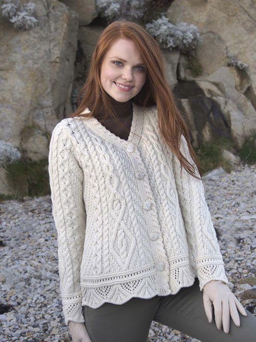 LACE BUTTON CARDIGAN X4268 [156] - €80.80 : Irish Sweaters Aran ...