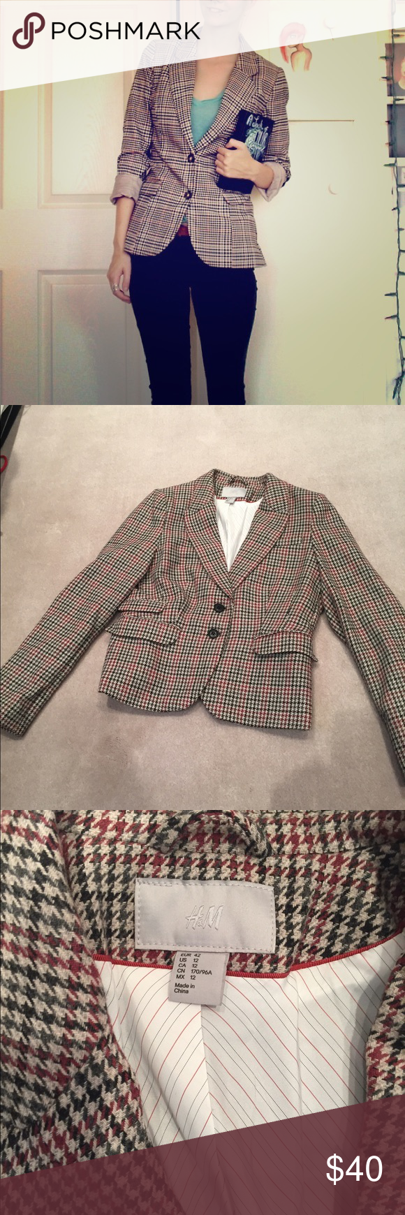 H&M blazer Tan beige gingham blazer with scalloped hem  Red and black accent colors.  Two front pockets and two brown buttons  Never worn  Size 12, fits 8-10. Less on 〽️erc H&M Jackets & Coats Blazers