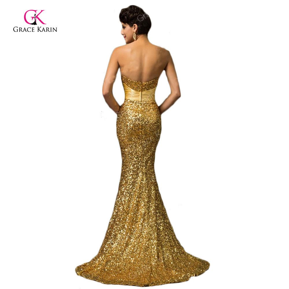 Grace karin mermaid evening dress red gold sequin strapless luxury