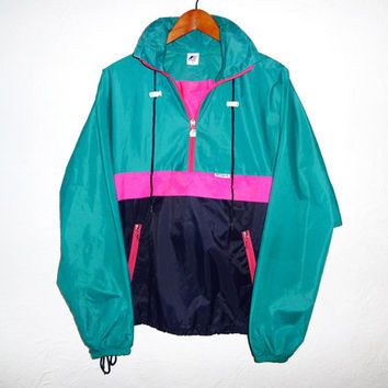 90s Vintage Windbreaker Color Block Neon From Treasuretrollz On Vintage Windbreaker Vintage Jacket Retro Outfits