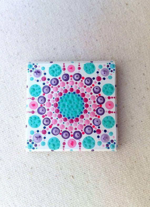 Handpainted Mandala Tiles Magnet Tilesmandala By Colorbakalito