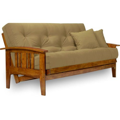 Nirvana Futons Westfield Futon Set With Microfiber Sussex Khaki Mattress Included Full Size Heavy Duty Solid Wood Easily Converts Into A Bed Futon Frame Futon Futon Sets