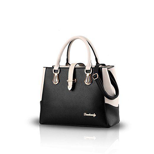 e8d799673a12ac Nicole&Doris 2017 neue schwarze und weiße Mode-Stil Handtasche lässig  Umhängetasche Querkörperarbeit Taschengeldbeutel für Damen(Black)