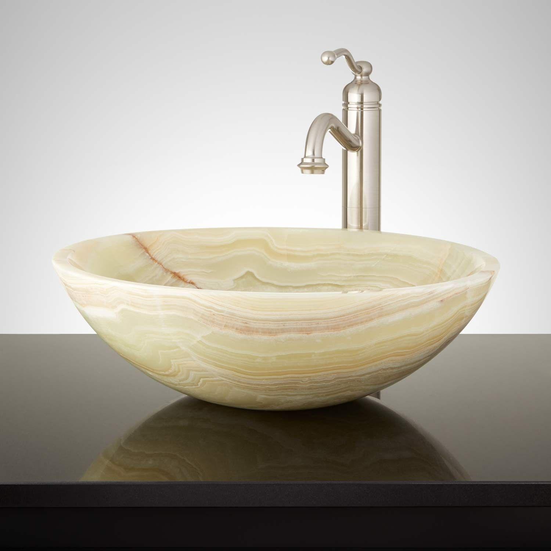 Cortes Green Onyx Round Vessel Sink Vessel Sinks