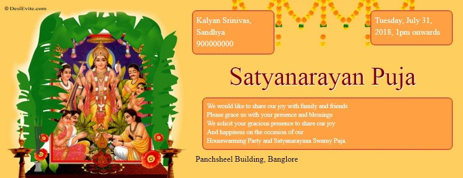 10 Format Of Satyanarayan Puja Invitation Message And