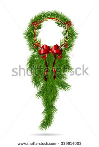 Christmas garland,vintage Christmas greeting banner,Vector Christmas frame - stock vector