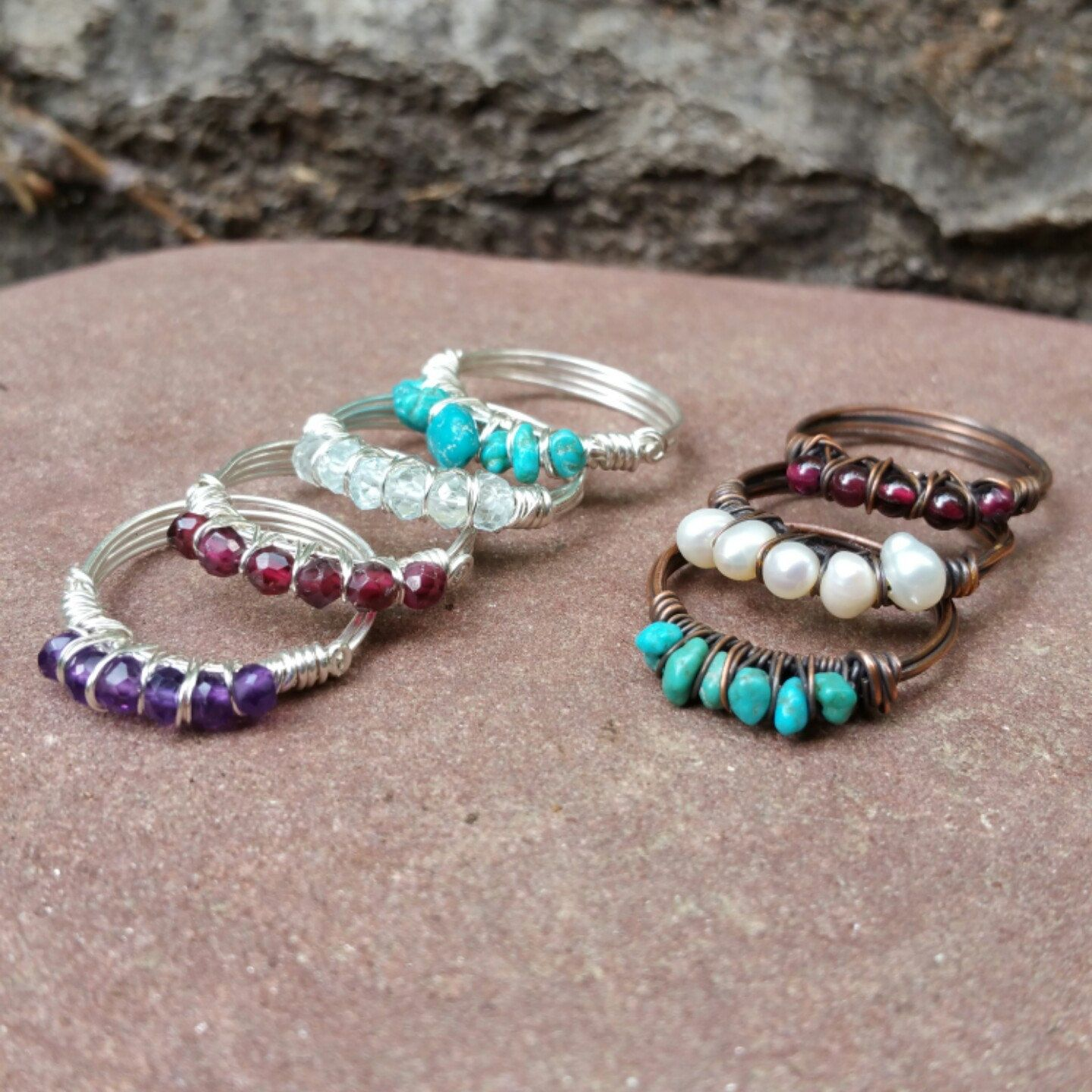 Super cute simple gemstone rings for summer in Sterling Silver or Copper!