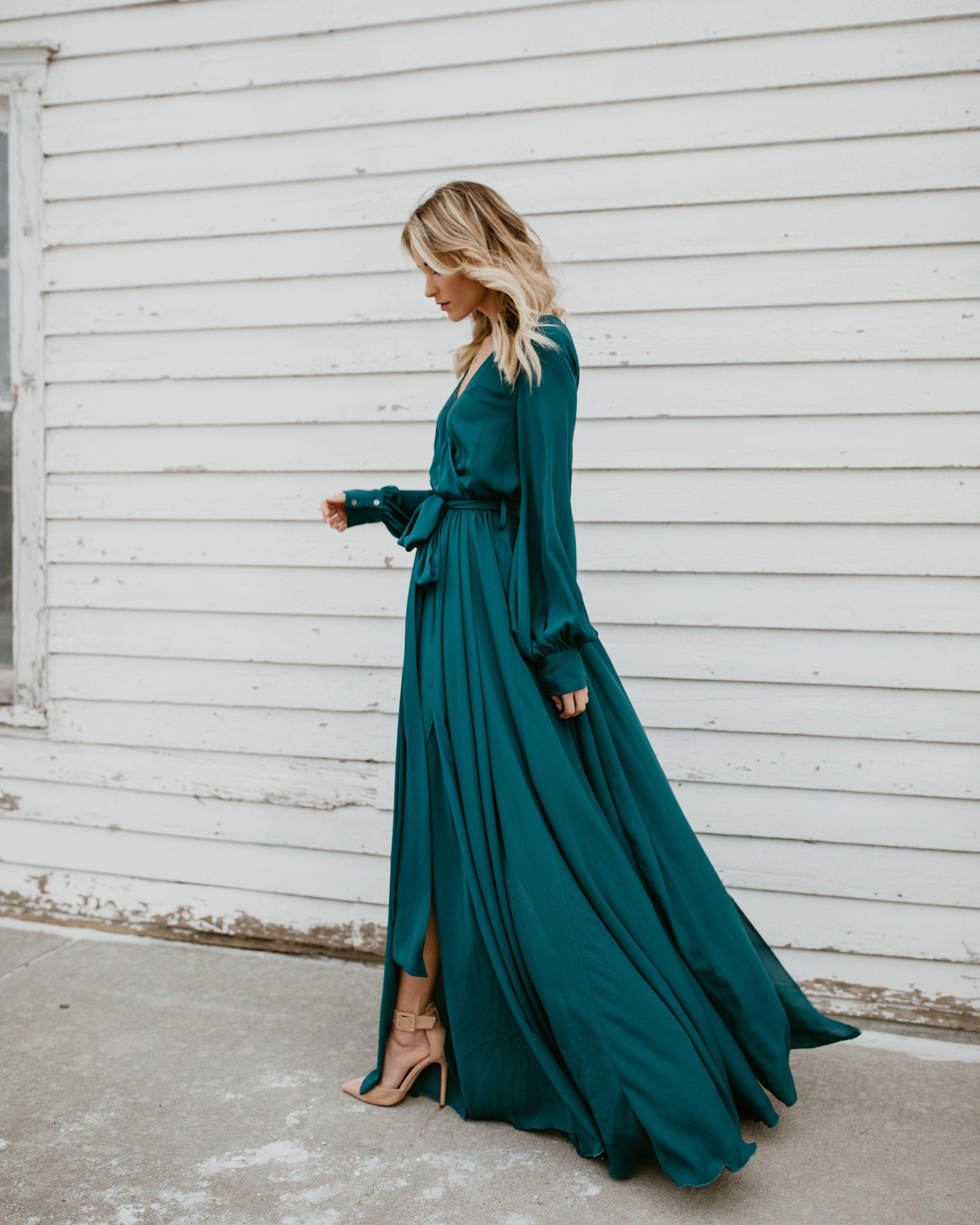 Long Sleeve Diana Maxi Dress Dark Teal Teal Maxi Dress Dark Teal Dress Teal Dress Outfit [ 3600 x 2880 Pixel ]