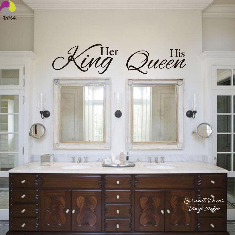 Her King His Queen Quote Wall Sticker Bathroom Hang Towel Mirror Bedroom Sofa Wedding Floor Lettering Decal Vinyl Home Decor