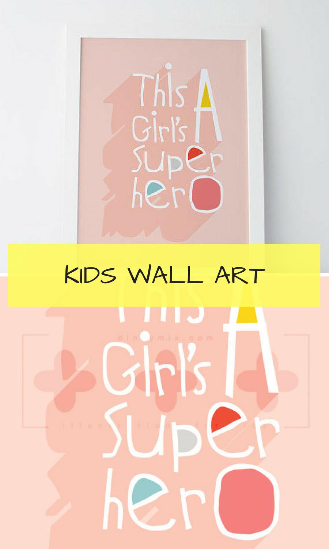 Girl SuperHero, comic, pop art, kids illustration, wall art for kids ...