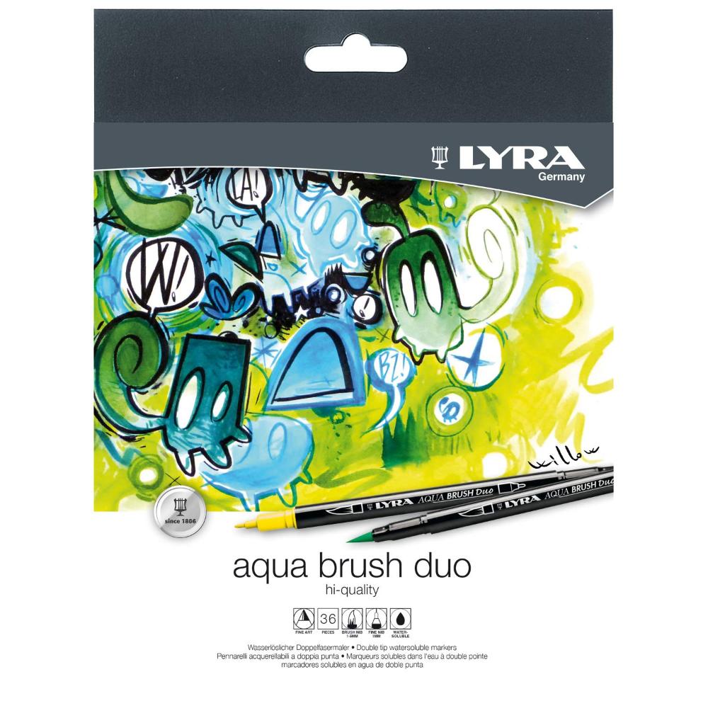 Lyra 6521360 Pack de 36 rotuladores con punta pincel y punta fina