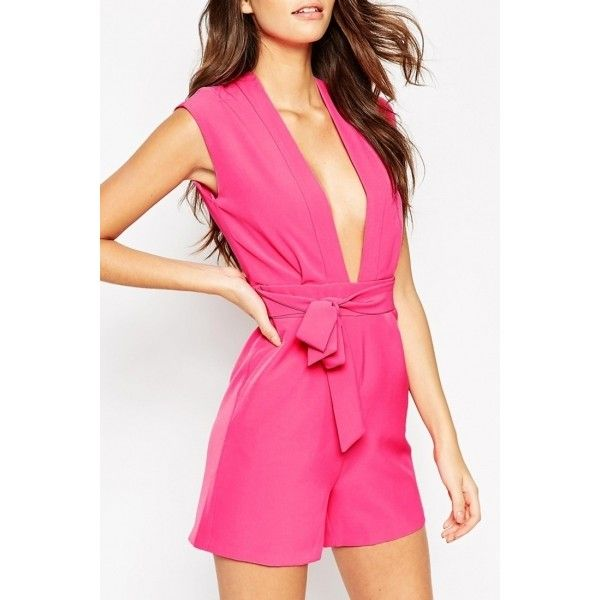 Hot Pink Plunging Neck Romper (450 CZK) ❤ liked on Polyvore featuring jumpsuits, rompers, hot pink, playsuit romper, plunge neck romper, sleeveless rompers, hot pink romper and plunging neckline romper