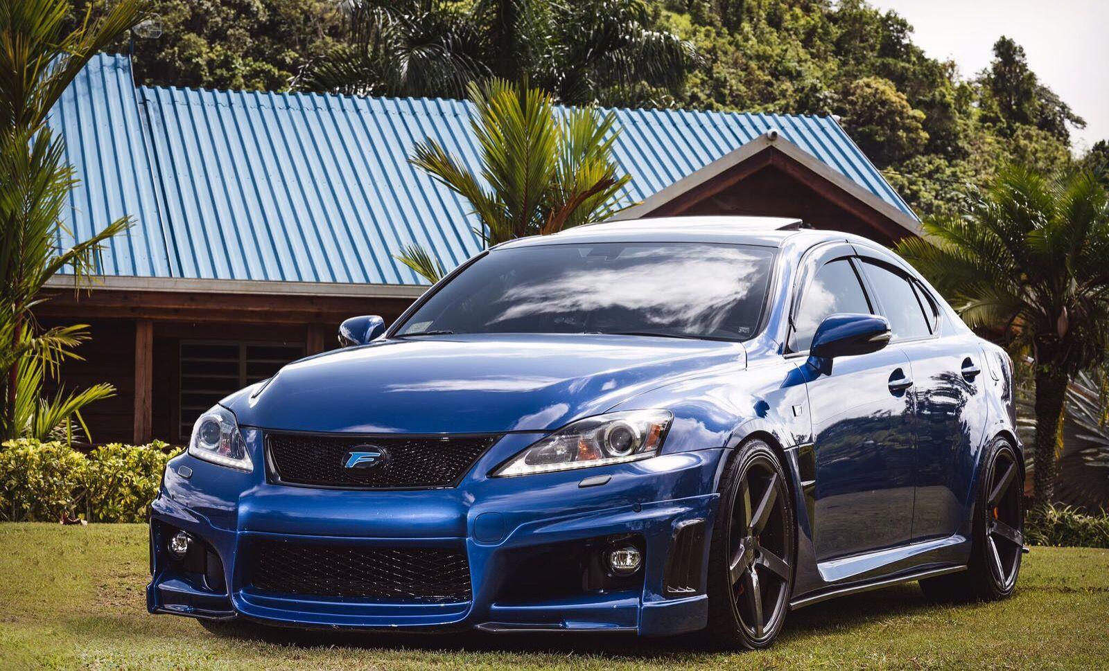 Lexus IsF blue ultrasonic with Vossen cv3r, carbon fender duct