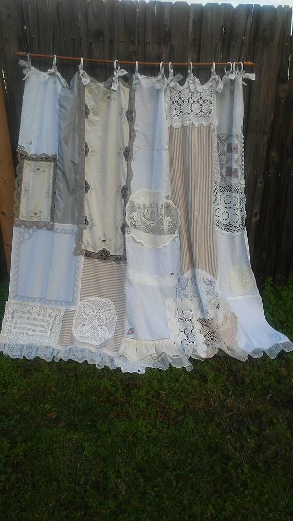 Shower Curtain Shabby Chic Cottage Chic Vintage Lace Vintage