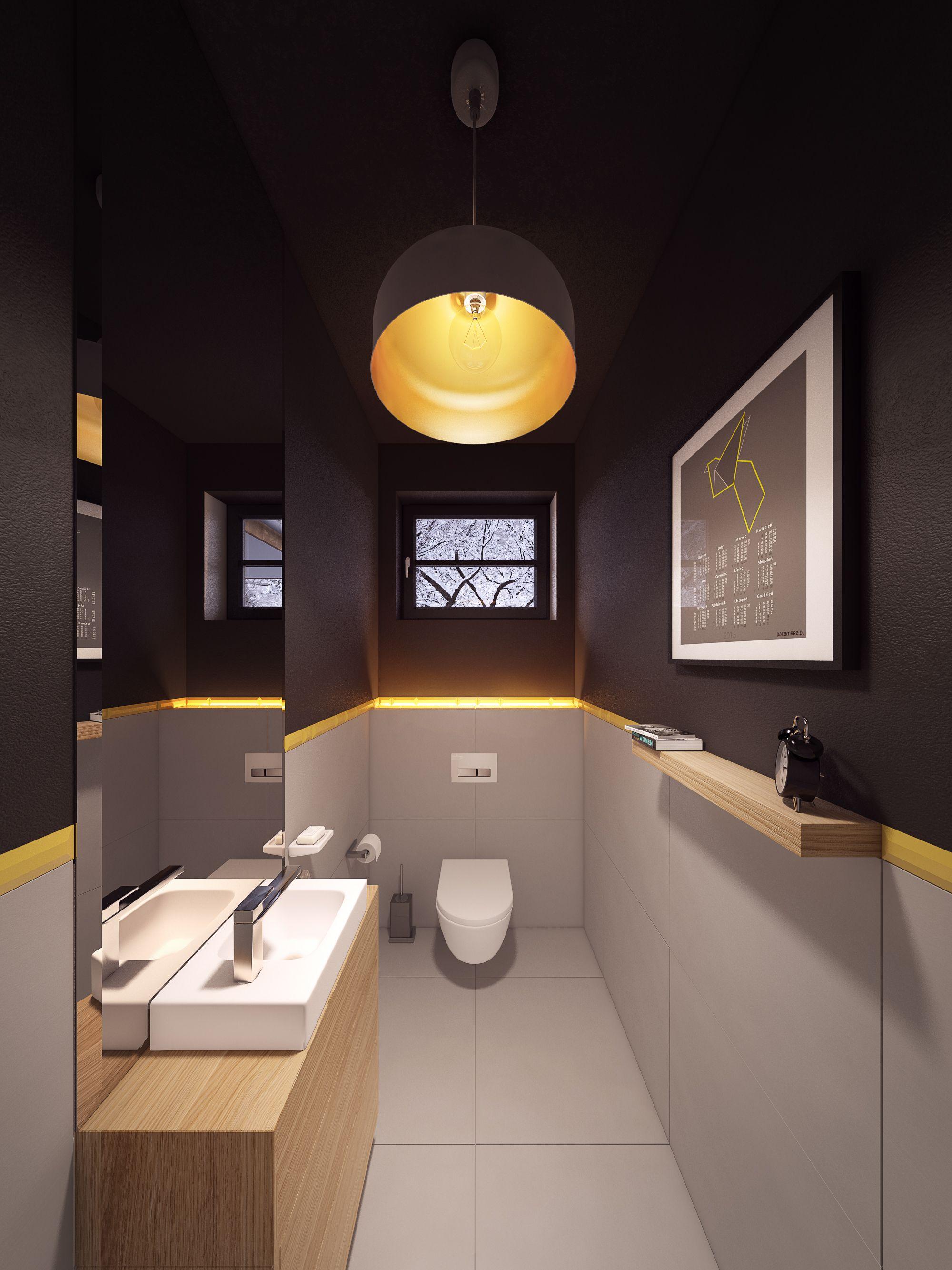 Meuble Salle De Bain Couleur Or ~ projekt domu w warszawie small narrow banyo pinterest