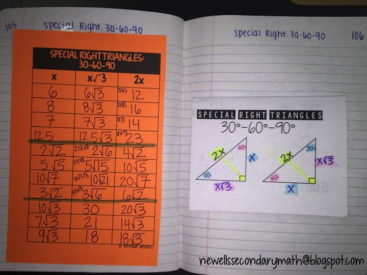 Ideas And Resources For The Secondary Math Classroom Better Questions Special Right Triangles Special Right Triangle Secondary Math Classroom Right Triangle