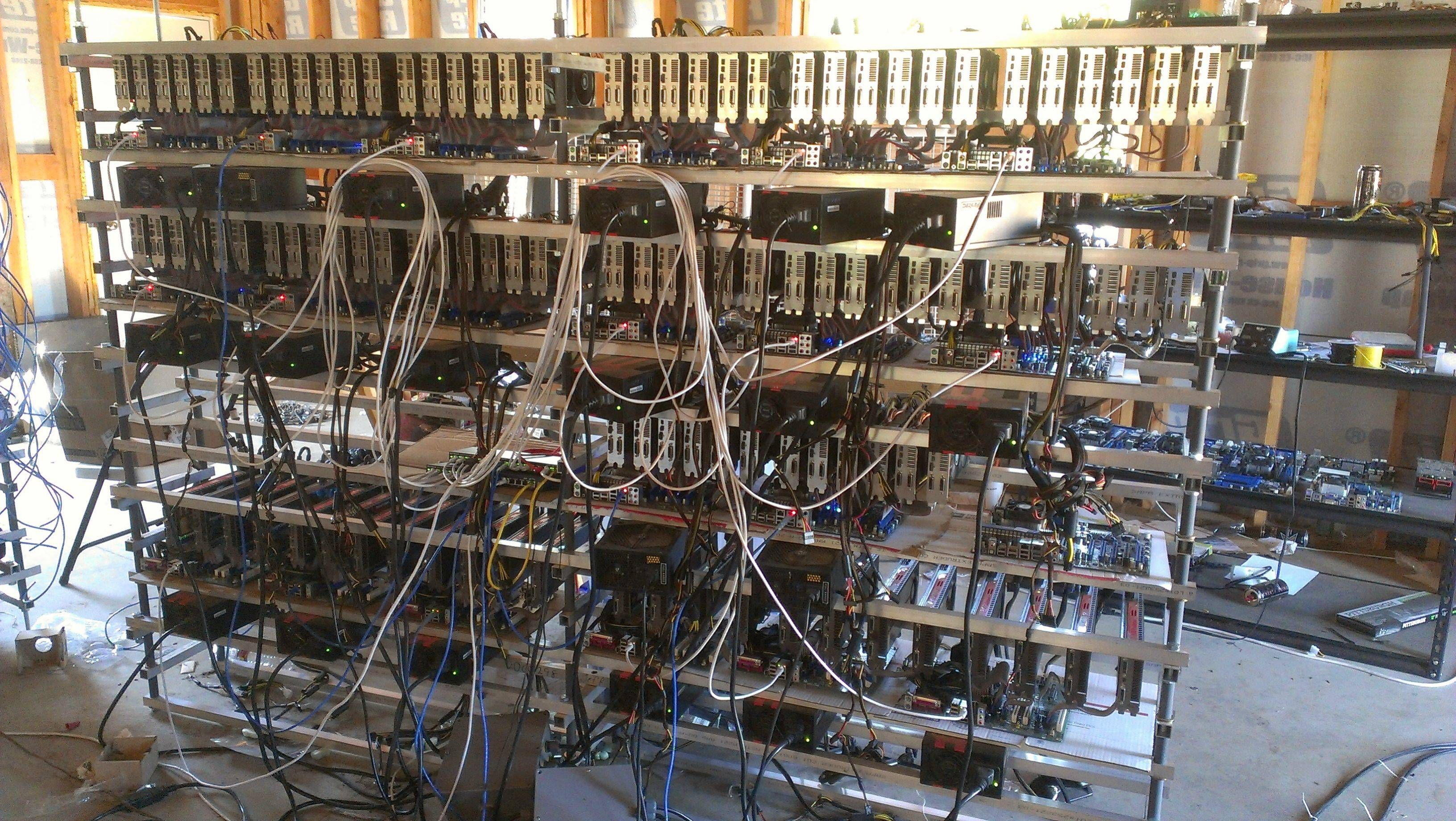 A bitcoin mining rig. This thing has sooooooo many GPUs D: