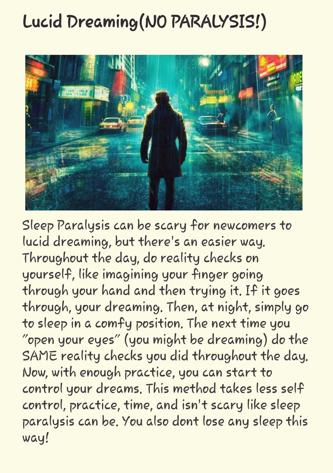 How to Lucid dream without Sleep Paralysis! | Life tips