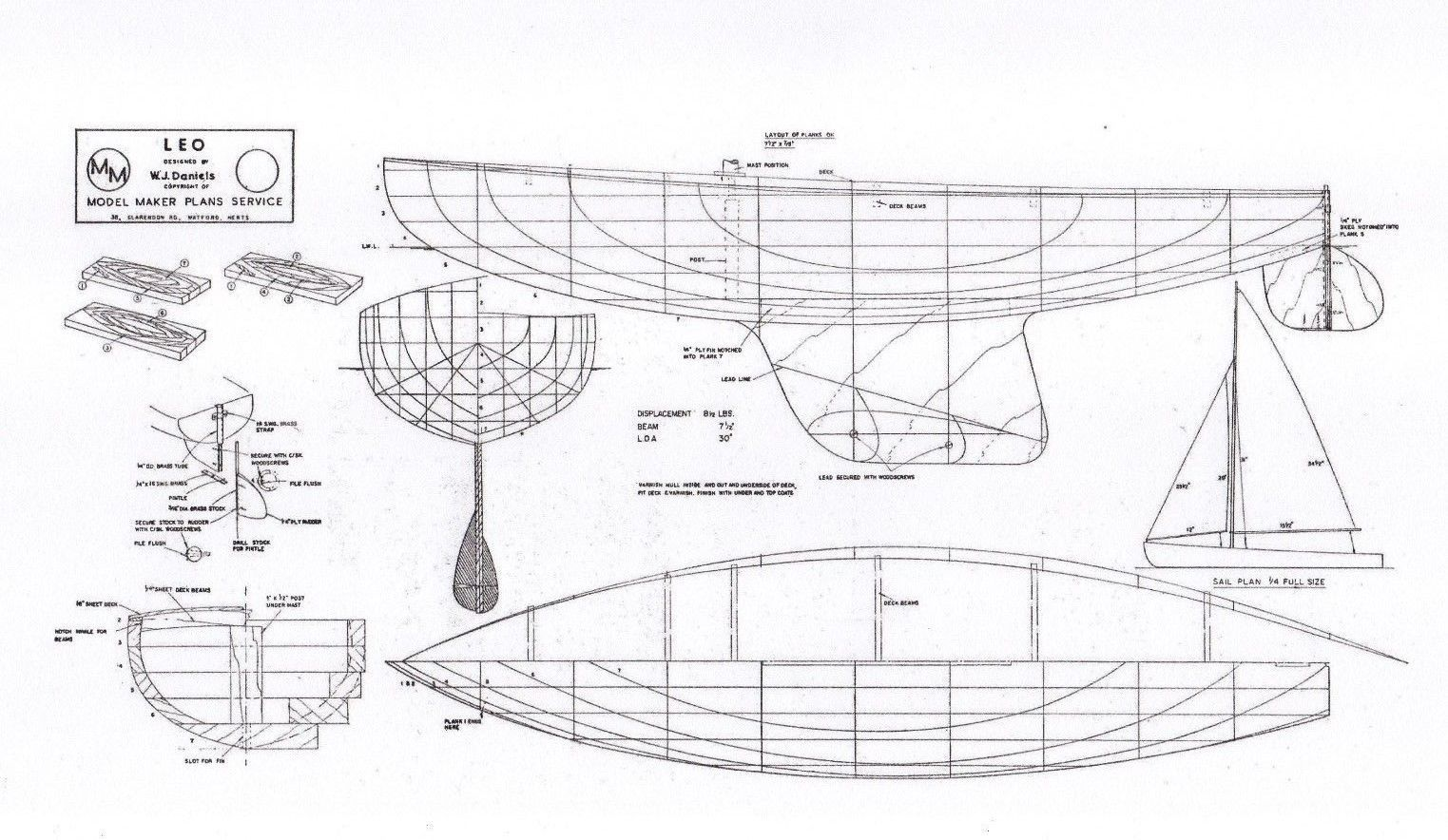 FULL SIZE PLAN FOR 'LEO' 30 INCH MODEL RACING POND YACHT