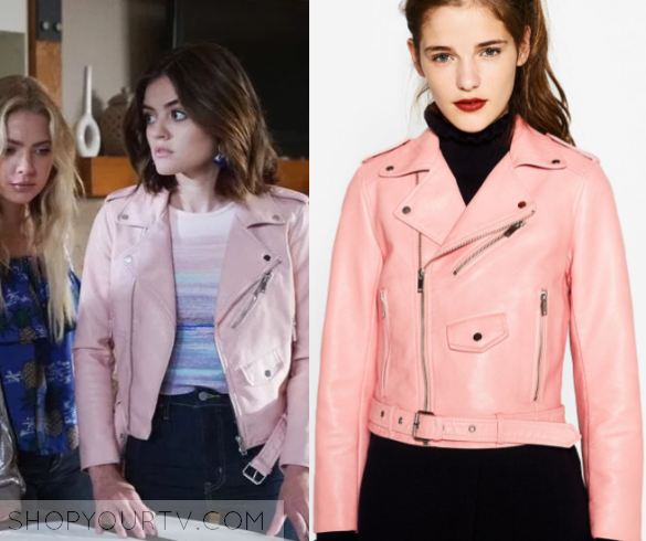 829f3016c Aria Montgomery (Lucy Hale) wears this pink moto leather biker ...