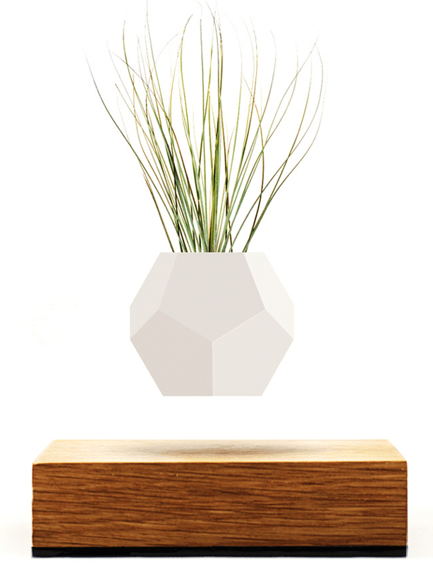 "Hovering via magnetic levitation above its oak base, the 12-sided geodesic Lyfe planter pot gently rotates suspended in mid-air, reflecting different shades of light as it softly floats.                     Magic in the Magnet Based on ""maglev technology,"" the silicon molded Lyfe… Read More..."