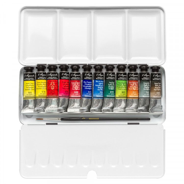 Sennelier Watercolour Paint Classic Metal Tin Set Of 12 X 10ml