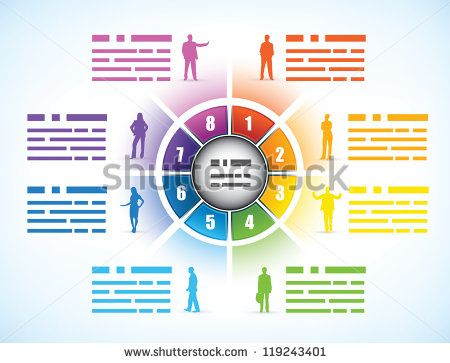 Cog or wheel diagram for a business presentation template divided cog or wheel diagram for a business presentation template divided into eight different colored numbered components ccuart Images