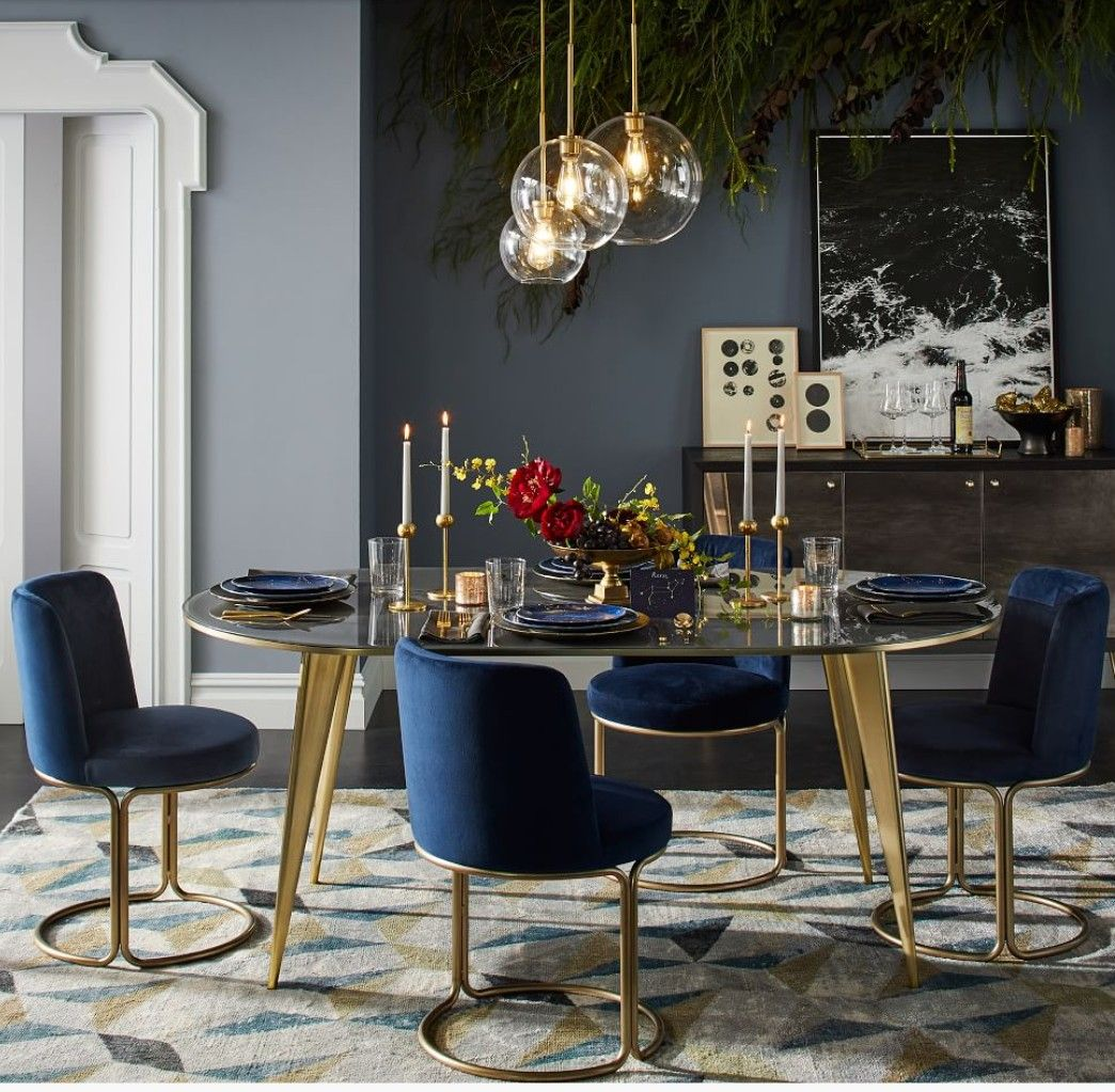 West Elm Dinning Table And Chairs Obsessed With Navy Blue And Gold Gold Dining Room Dining Table Marble Luxury