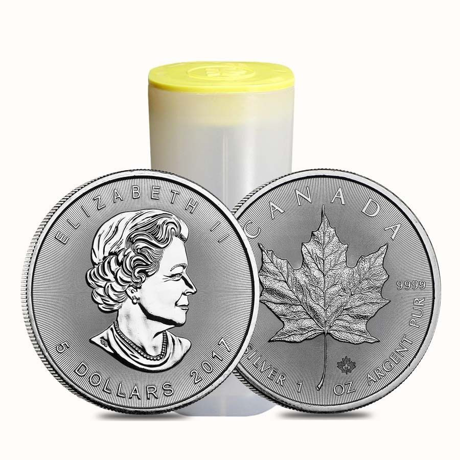 Roll Of 25 2017 1 Oz Silver Canadian Maple Leaf 9999 Fine 5 Coin Bu Lot Tub Silver Maple Leaf Canadian Maple Leaf Silver Eagle Coins