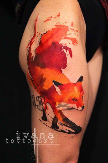 Watercolor Fox Tattoo On Thigh Fox Tattoo Typography Tattoo Watercolor Fox Tattoos
