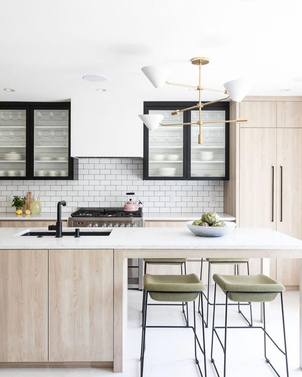 We showed our team this photo at weekly design meeting and everyone was gushing love the idea of black    kitcheninteriordesign also navy white wood kitchen homes interiors in pinterest rh