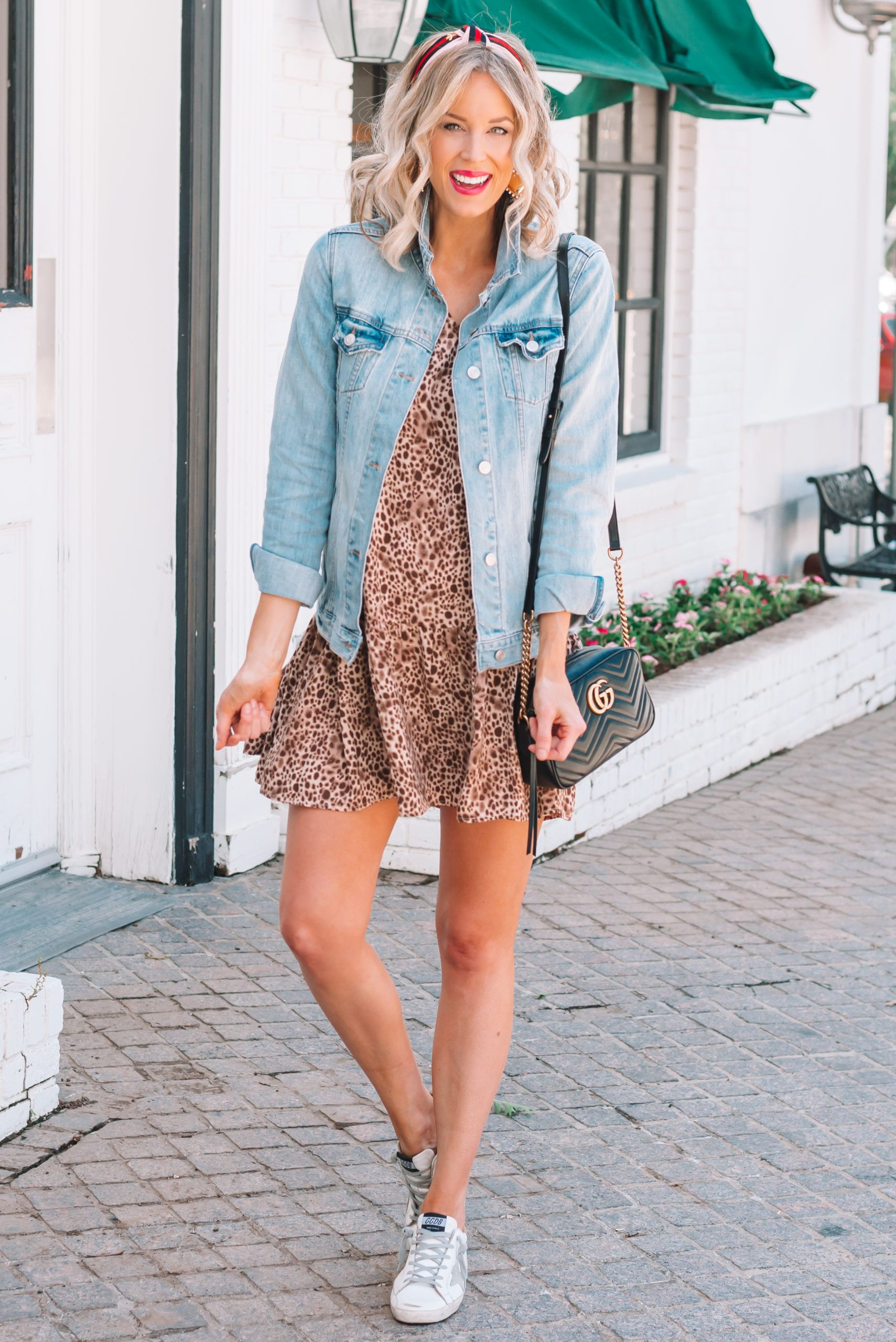 Leopard Drop Waist Dress Straight A Style Denim Jacket With Dress Dropwaist Dress Casual Dress Outfits [ 2560 x 1709 Pixel ]