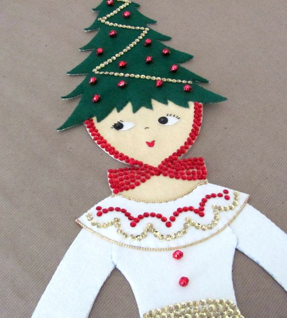 vintage christmas wall hanging 1960s bucilla by thirstyowlvintage 14850 - Christmas Card Holder Wall Hanging