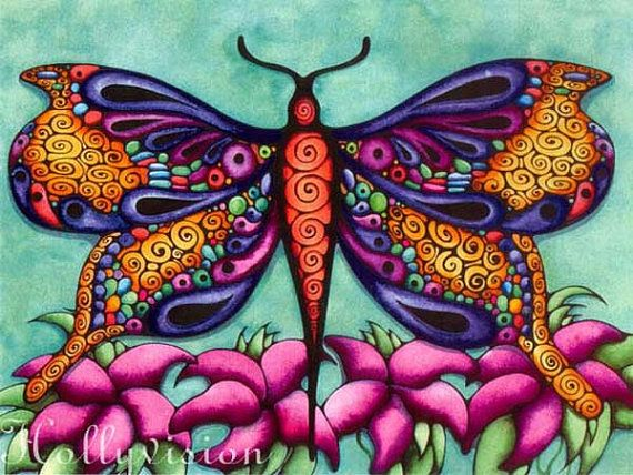 Blue Butterfly Abstract Colorful Print By Hollyvisionart -9385