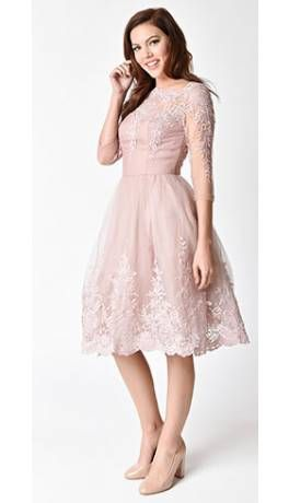 Nice Women Pearl Pin Up Pink Dress Woman Wrap Gold Embroidery Lace Dress V Neck Surplice Party 1950s Retro Vintage Dresses Dresses