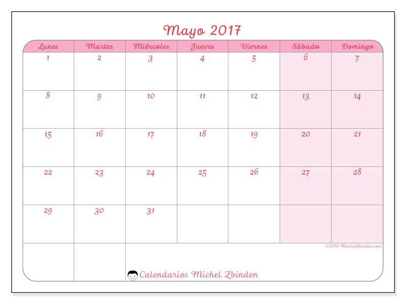 Calendario mayo 2017 para imprimir, gratis. Calendario mensual ...