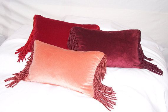 10 Quot X 16 Quot Velvet Kidney Pillow Covers With Twisted Fringe Pillow Covers Pillow Forms Pillows