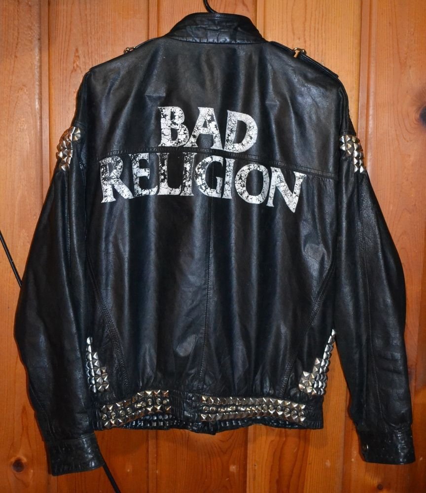 80s Punk Goth Leather Jacket Bad Religion Mens Large