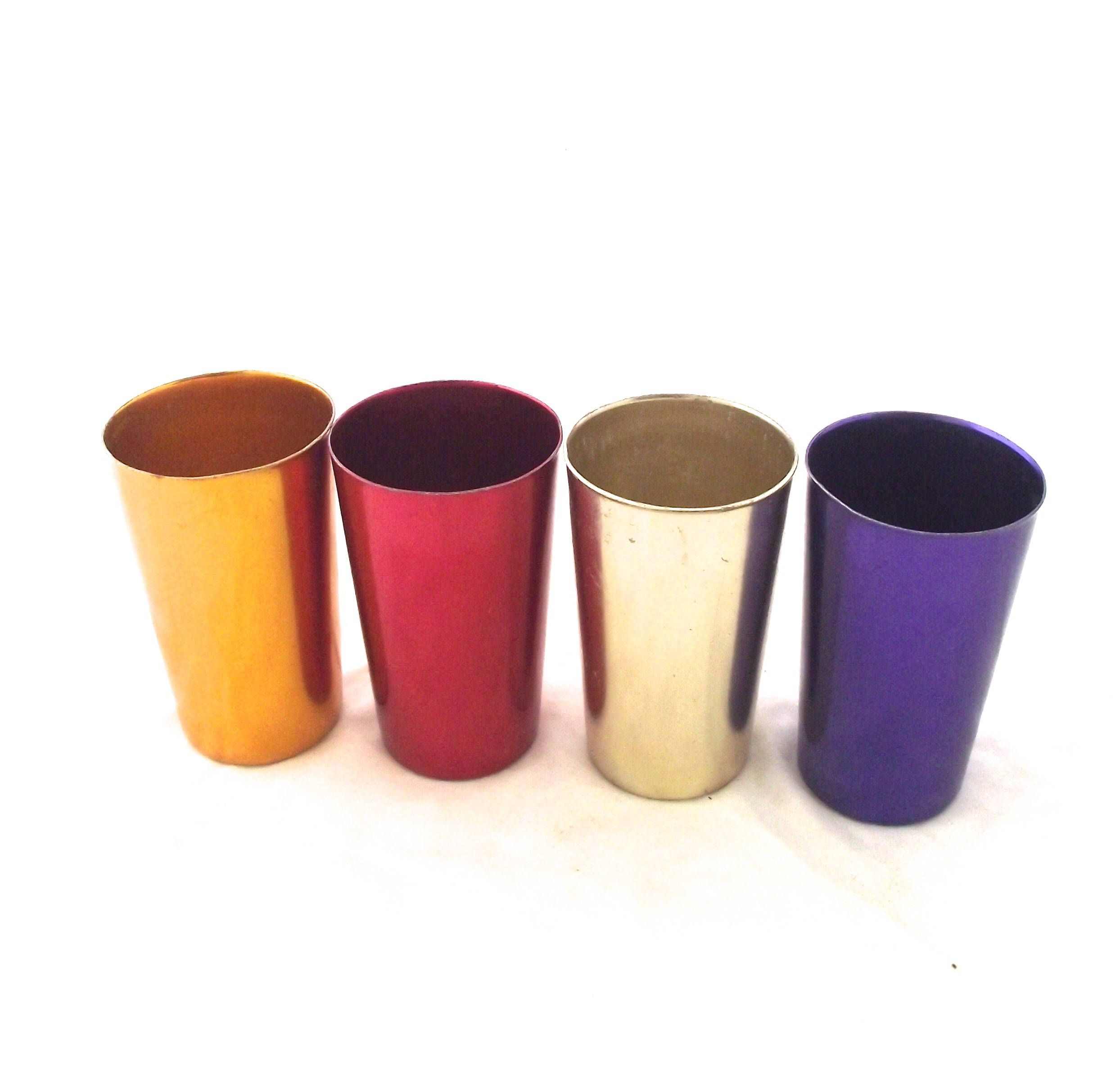 Bascal Jewel Tone Drinking Cups, Set Of 4 Vintage Metal Tumblers