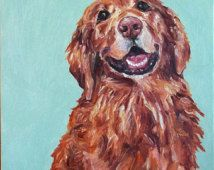 CUSTOM Dog Portrait Oil Painting Pet Memorial Birthday Holiday gift