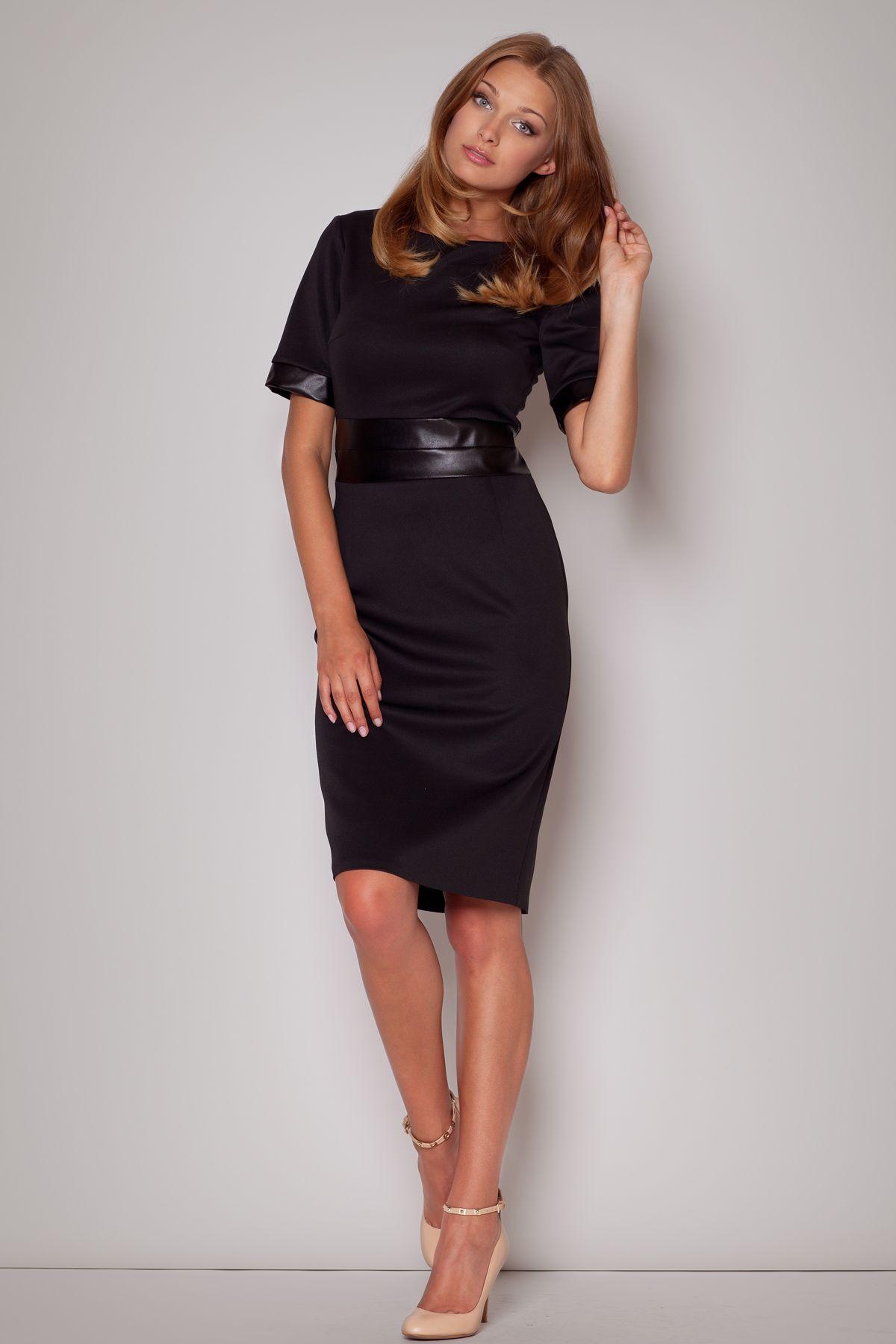 Figl - Dámske čierne puzdrové šaty s koženkovým pásom  425444cb5b9