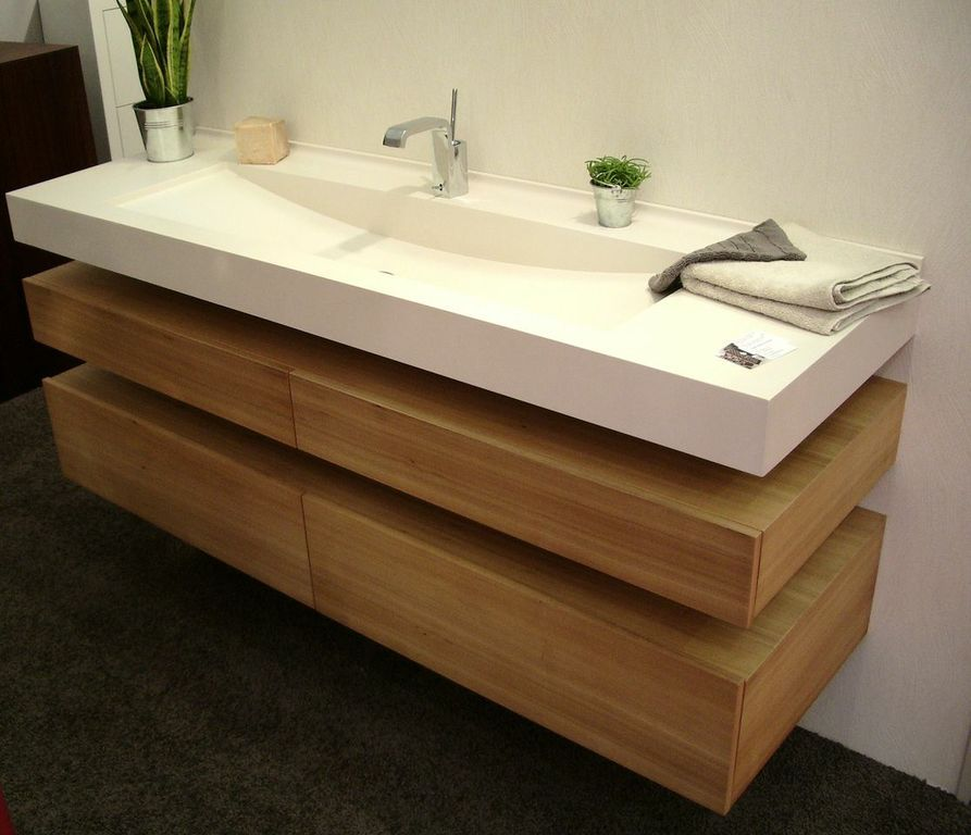 Plan vasque en varicor sdb pinterest shower bathroom - Grande vasque salle de bain 2 robinets ...