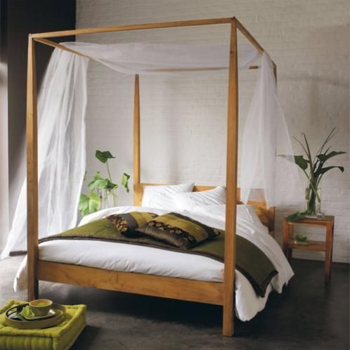 Himmelbett aus massivem Teakholz, 160 x 200 Himmelbett - oster möbel schlafzimmer